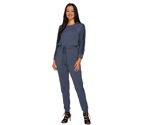 H by Halston Regular Jet Set Jersey Long Sleeve Knit Jumpsuit