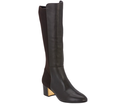 Judith Ripka Leather & Stretch Tall Shaft Boots-Jill