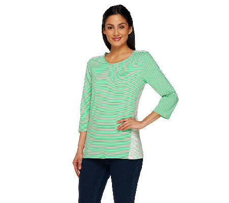 """As Is"" Denim & Co. Combo Striped Scoop Neck 3/4 Sleeve Top"