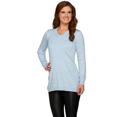 Susan Graver V-neck Long Sleeve Sweater Tunic