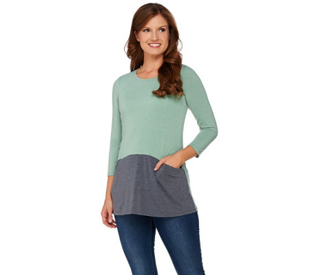 LOGO by Lori Goldstein Heathered Color-Block Knit Top