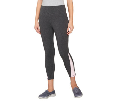 """As Is"" Denim & Co. Active Duo- Stretch Crop Pants with Color-Block"