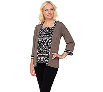 Bob Mackie's 3/4 Sleeve Jacket and Tribal Print Tank Set - A273153