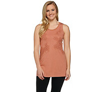 LOGO by Lori Goldstein Knit Tank with Crochet and Chiffon Detail - A273353