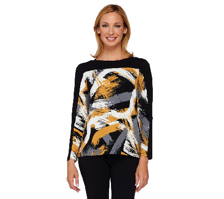 """As Is"" Susan Graver Weekend Printed Cotton Modal Long Sleeve Top"