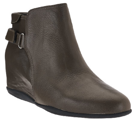 """As Is"" Me Too Leather Wedge Ankle Boots - Harp"