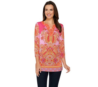 Susan Graver Artisan Embellished Printed Liquid Knit Tunic - A276453