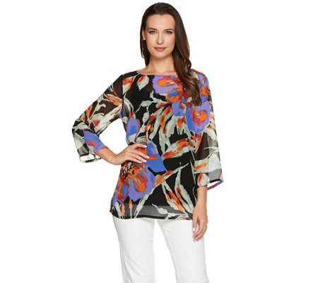 Bob Mackie's Floral Printed 3/4 Sleeve Chiffon Top and Knit Tank Set