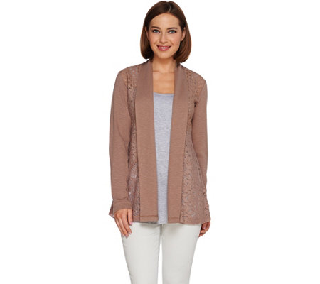 LOGO Lavish by Lori Goldstein Novelty Lace Cardigan with Knit Sleeves