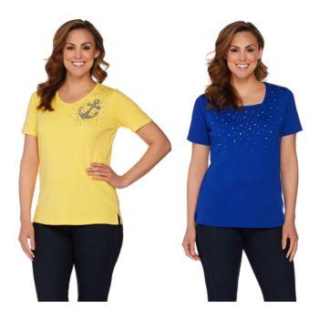 Quacker Factory Set of 2 Summer Sparkle Short Sleeve T-shirts