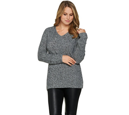 Lisa Rinna Collection V-Neck Long Sleeve Sweater