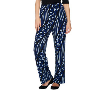 Bob Mackie's Petite Printed Pull-On Knit Pants - A279153