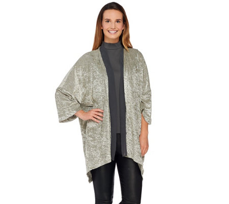 """As Is"" LOGO by Lori Goldstein Burnout Open Front Cardigan with Chiffon"