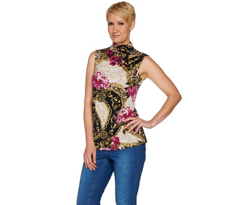 Susan Graver Printed Liquid Knit Sleeveless Turtleneck Top