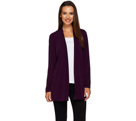"""As Is"" Susan Graver Liquid Knit Open Front Cardigan with Lace Inset"