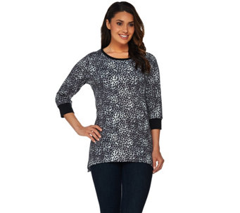 Denim & Co. Active 3/4 Sleeve Dot Printed Trapeze Hem Top - A280653