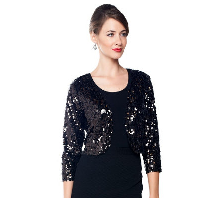 """As Is"" Joan Rivers Sequin Shrug with 3/4 Sleeves"