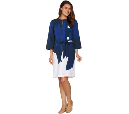 Kelly by Clinton Kelly Brushstroke Print Dress with Belt