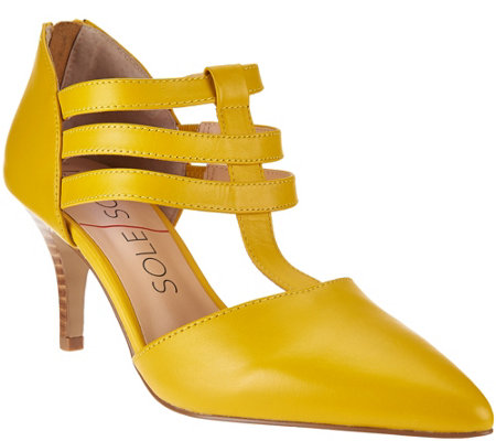"""As Is"" Sole Society Leather Triple T-strap Pumps - Mallory"