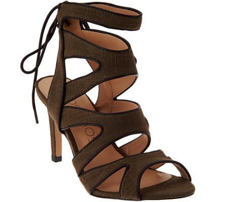 """As Is"" Sole Society Canvas Cut-out Sandals - Stella"