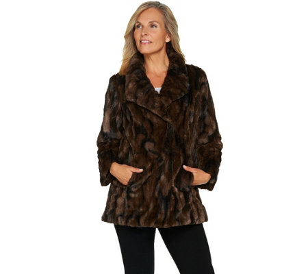 Dennis Basso Sterling Collection Faux Fur Coat
