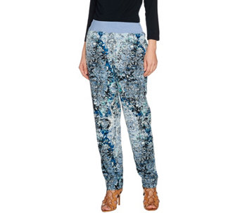 """As Is"" LOGO by Lori Goldstein Printed Challis Pants with Knit Waistband - A286153"