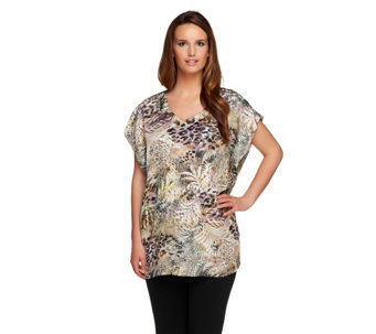 """As Is"" George Simonton Tropical Safari Print V-neck Tunic_w/Slits - A286653"