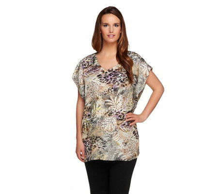 """As Is"" George Simonton Tropical Safari Print V-neck Tunic_w/Slits"