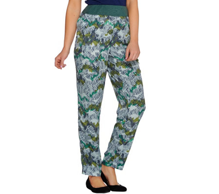 """As Is"" LOGO by Lori Goldstein Printed Challis Pants with Knit Waistband"