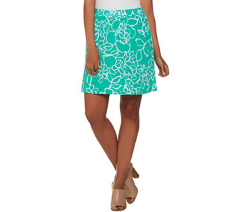 """As Is"" Susan Graver Printed Liquid Knit Pull-On Skort - A288253"