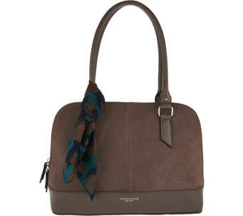 """As Is"" Tignanello Water Resistant Suede Leather RFID Satchel - A288953"