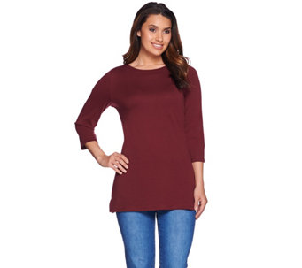 """As Is"" C. Wonder Pima Cotton Crew Neck 3/4 Sleeve Tunic - A289953"