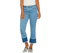 LOGO by Lori Goldstein Mini Bootcut Jeans with Dip-Dyed Leg - A290253
