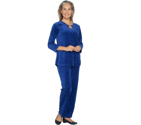 """As Is"" Quacker Factory Keyhole Velour Tunic and Pant Set"