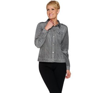 """As Is"" Joan Rivers Cropped Faux Suede Jacket - A291753"