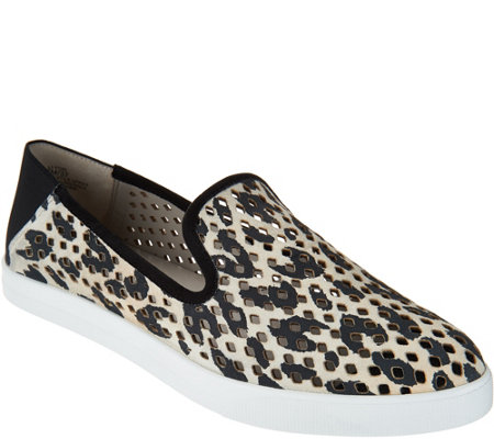 Lori Goldstein Collection Perforated and Printed Slip-On Sporty Loafers