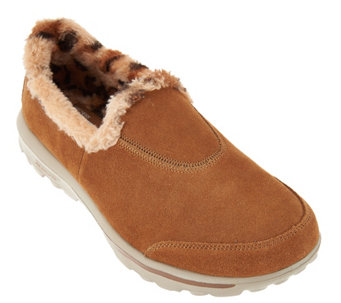 """As Is"" Skechers GOWalk Suede Slip-ons w/Faux Fur Lining-Alluring - A292553"