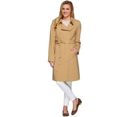"""As Is"" Isaac Mizrahi Live! Water Repellant Soft Trench Coat"
