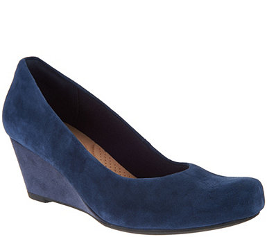 Clarks Leather or Suede Wedge Pumps - Flores Tulip - A294553