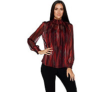 Susan Graver Printed Woven Smocked Turtleneck & Knit Tank Set - A297153