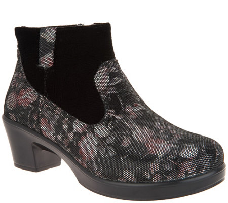 """As Is"" Alegria Leather Side Zip Ankle Boots - Hayden"