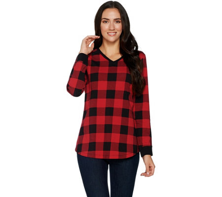"""As Is"" Denim & Co. Buffalo Plaid Jersey V-Neck Long Sleeve Tunic"