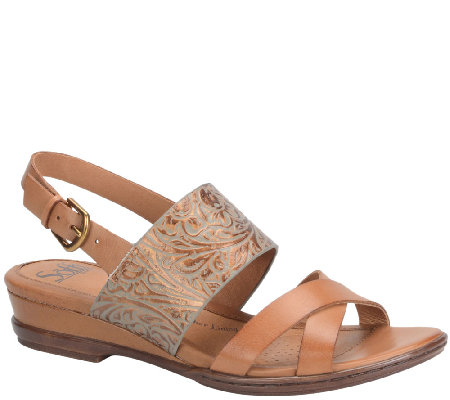 Sofft Embossed Leather Sandals -  Sassandra