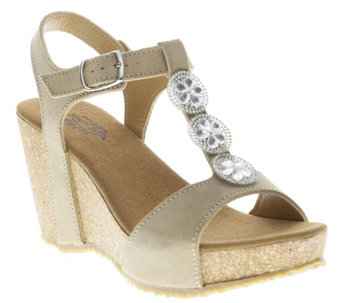 Spring Step Suede Leather Wedge Sandals - Moriah - A339453