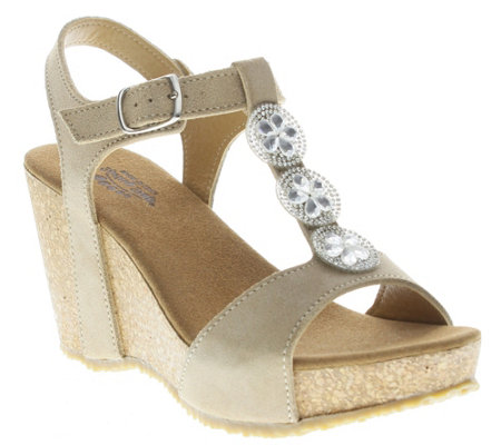 Spring Step Suede Leather Wedge Sandals - Moriah