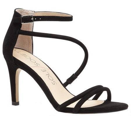Sole Society Strappy Heeled Sandals - AlgecirasBlack