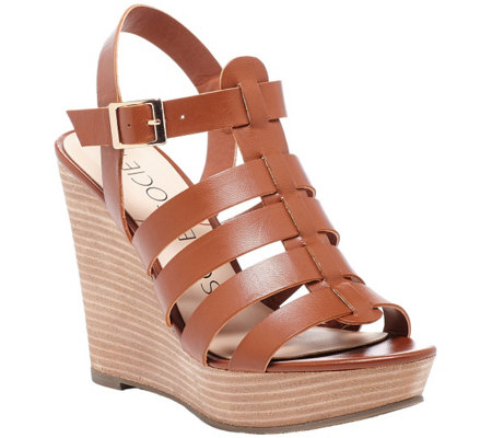 Sole Society Leather Gladiator Wedge Sandals -Lennox