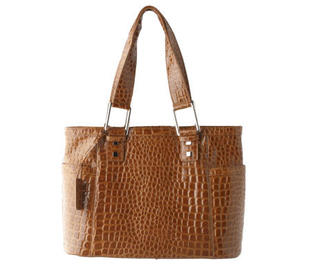 Butler Bag by Jen Groover Croco Embossed Leather Organizer Tote