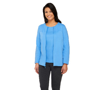 Denim & Co. Novelty Zip Front Jacket and T-Shirt - A85253