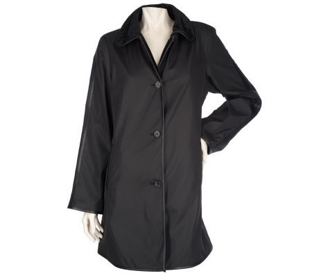 Dennis Basso Reversible Water Resistant Button Front Coat